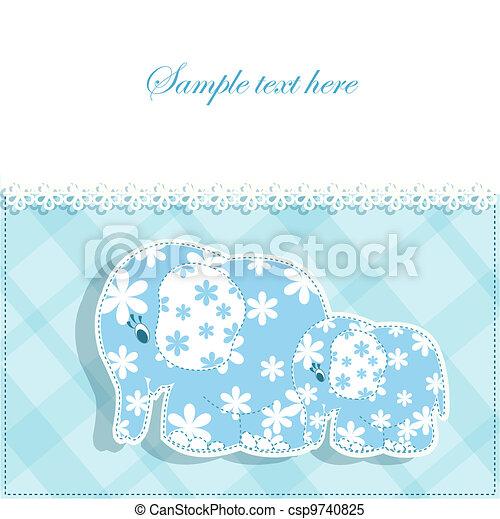 赤ん坊, カード, 象 - csp9740825