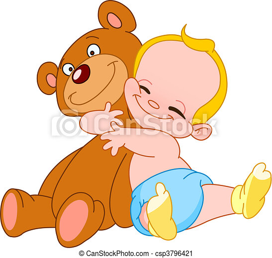 赤ん坊, 抱擁, 熊 - csp3796421