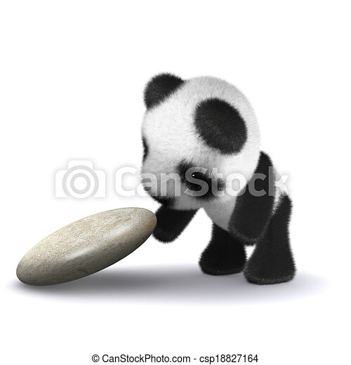 赤ん坊, 探検する, パンダ, 3d - csp18827164