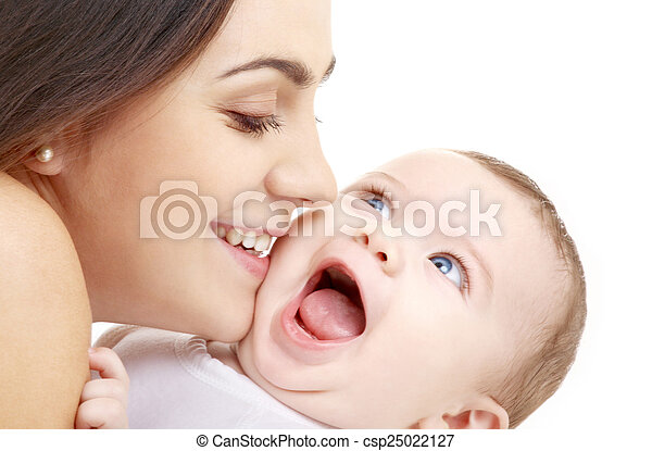 赤ん坊, 接吻, 彼女, 母 - csp25022127