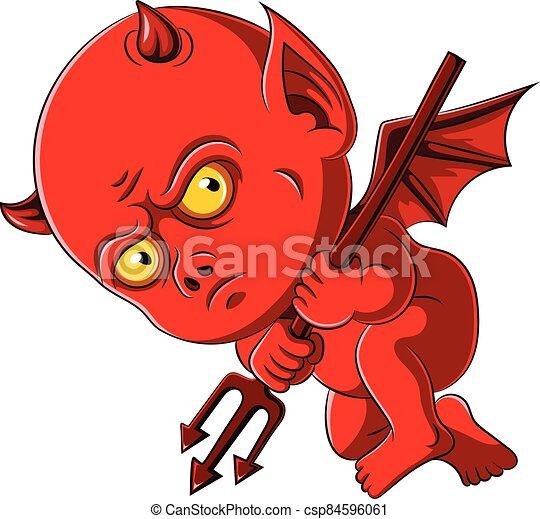 赤ん坊, trident, 悪魔, 赤 - csp84596061