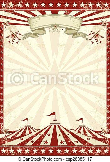 赤, サーカス, グランジ, ポスター - csp28385117