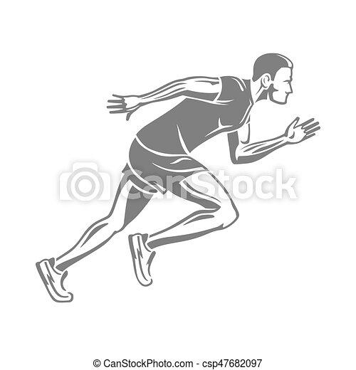 走っている男性 シルエット 隔離された White 平ら スタイル マレ