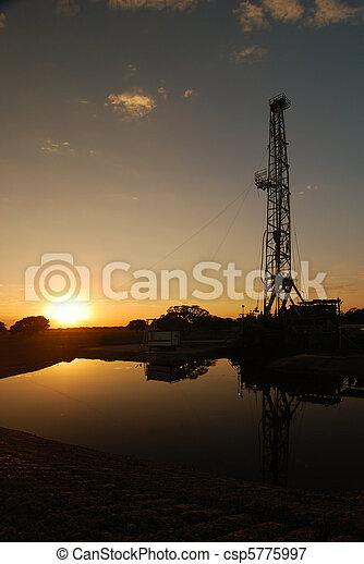 起重机, 日落 - csp5775997