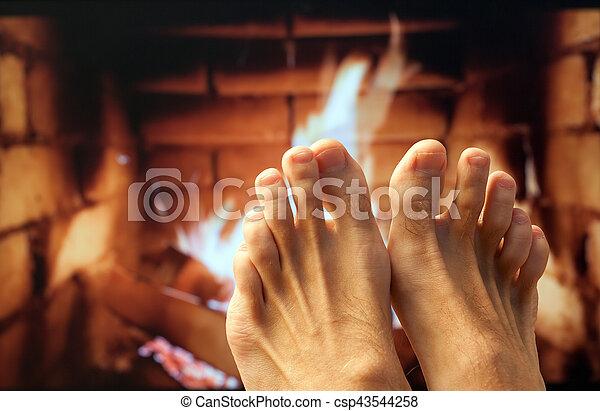 足, 暖炉, 加熱された - csp43544258
