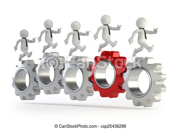 跑, 人們, -, 連線, 齒輪, 小, 3d - csp25436296