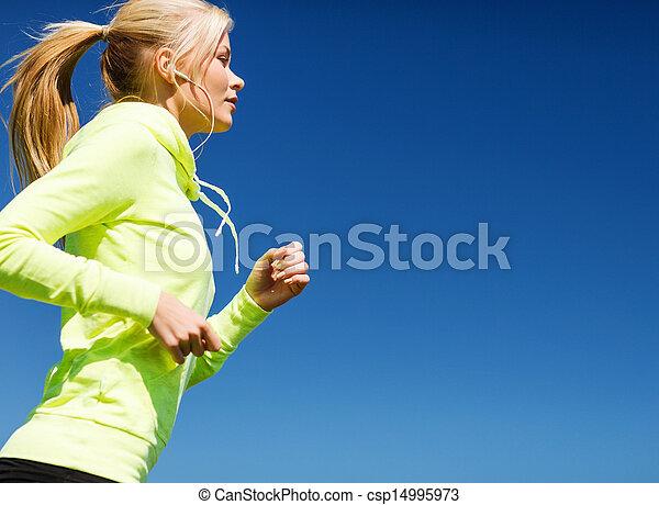 跑, 婦女, 在戶外 - csp14995973