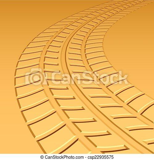 跡, 暑い, 砂, ベクトル, tyre, 砂漠 - csp22935575