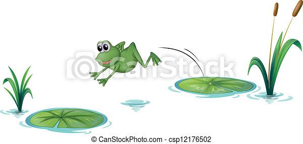 跳躍, カエル - csp12176502
