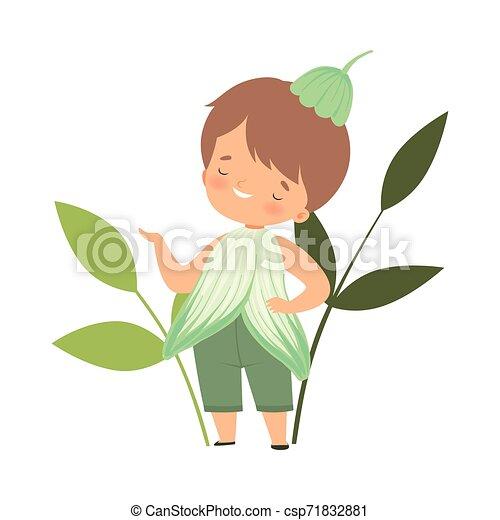 身に着けていること, かわいい, わずかしか, 花, カーニバル, 男の子, イラスト, 衣装, ベクトル, 子供, 愛らしい, 衣服 - csp71832881