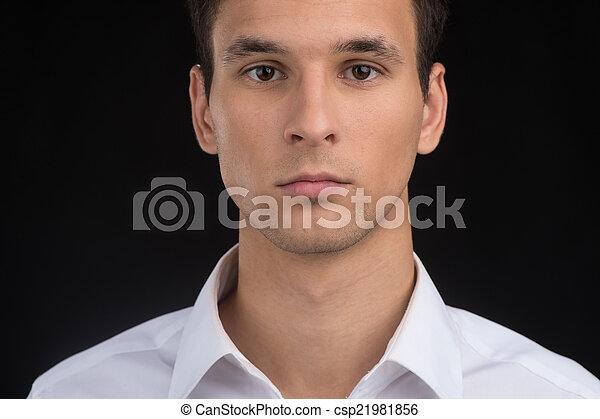 身に着けていること, ワイシャツ, 若い, 顔, バックグラウンド。, クローズアップ, 人, 深刻, 人, ハンサム, 黒 - csp21981856