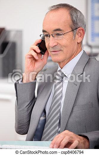 身に着けていること, 古い, 灰色, 年, 65, スーツ, 呼出し, 人 - csp8406794