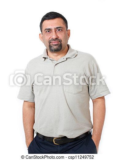 身に着けていること, 映像, クローズアップ, 打撃, &, 健康, イメージ, 経営者, 隔離された, tシャツ, 人, スタジオ, asian/indian, 白, 涼しい, smile., 偶然, 幸せ - csp11249752