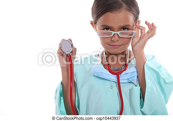 身に着けていること, 栽培された, 病院, の上, 聴診器, 子供, ごしごし洗う, ガラス - csp10443937