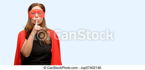 身に着けていること, 索引, 概念, 英雄, ありなさい, 年齢, 唇, マスク, quiet., 中央, 秘密, 女, 指, 沈黙, 尋ねなさい, 岬, 極度, 赤 - csp57402146