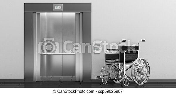 車椅子, イラスト, doors., エレベーター, 開いた, 空, 3d - csp59025987