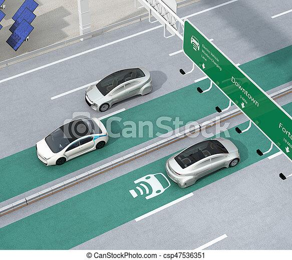 車線, 電気である, 運転, 自動車, 無線, 充満, ハイウェー - csp47536351