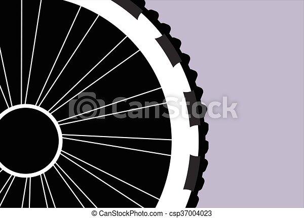 車輪, シルエット, ベクトル, 自転車 - csp37004023