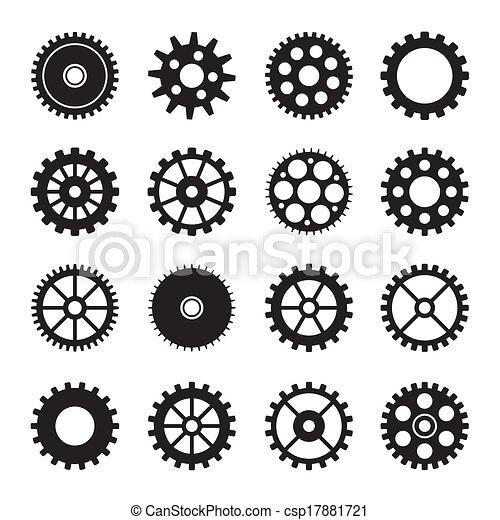 車輪, 2, セット, ギヤ, アイコン - csp17881721