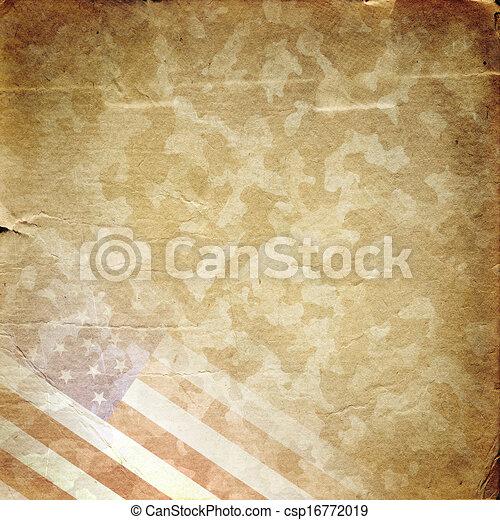 軍, グランジ, 背景, 黄色 - csp16772019