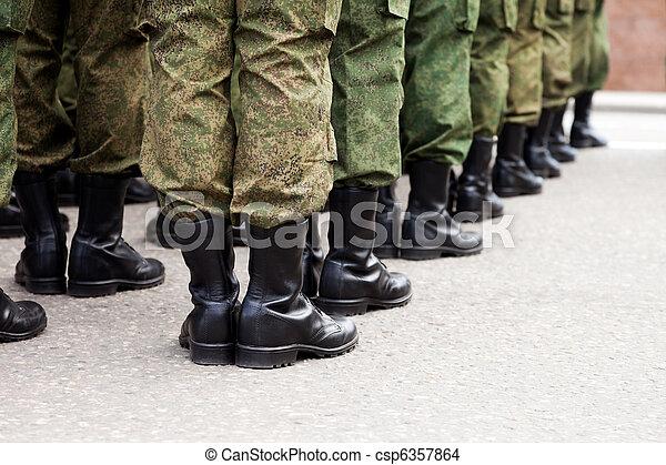 軍, 兵士, ユニフォーム, 横列 - csp6357864