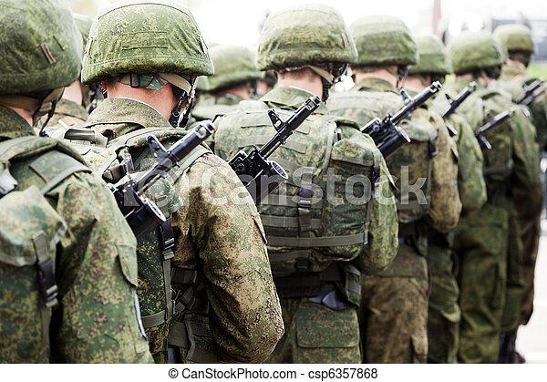 軍, 兵士, ユニフォーム, 横列 - csp6357868