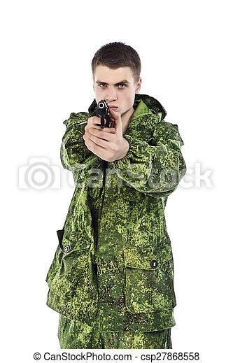 軍, 撃つ, 人 - csp27868558