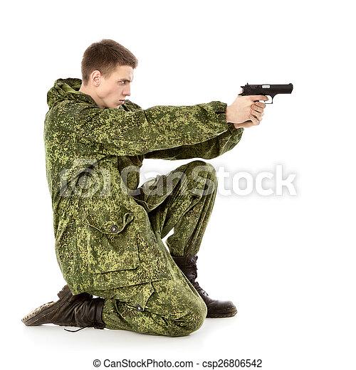 軍, 撃つ, 人 - csp26806542