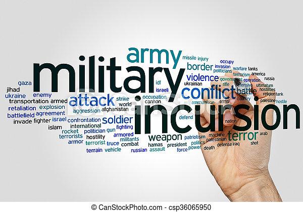 軍, incursion, 単語, 雲 - csp36065950