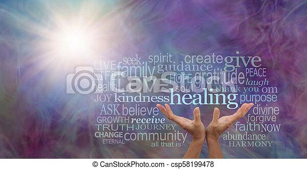 輝き, 単語, ライト, 治癒, あなたの, 雲 - csp58199478