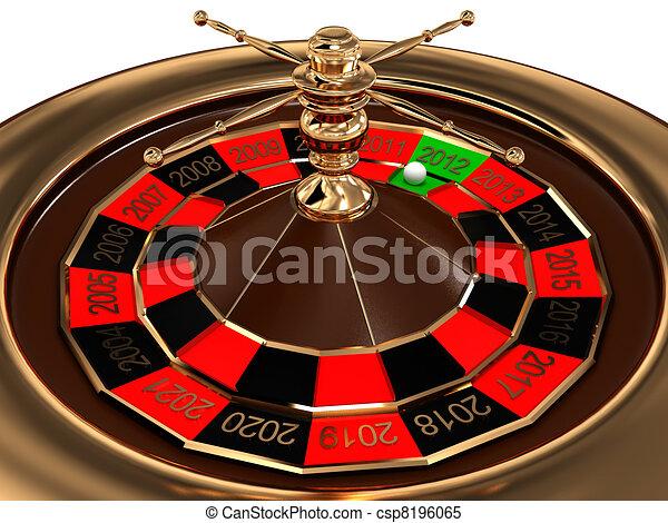 輪盤賭, 圖像, 被隔离, 年, 背景。, 白色, 3d - csp8196065