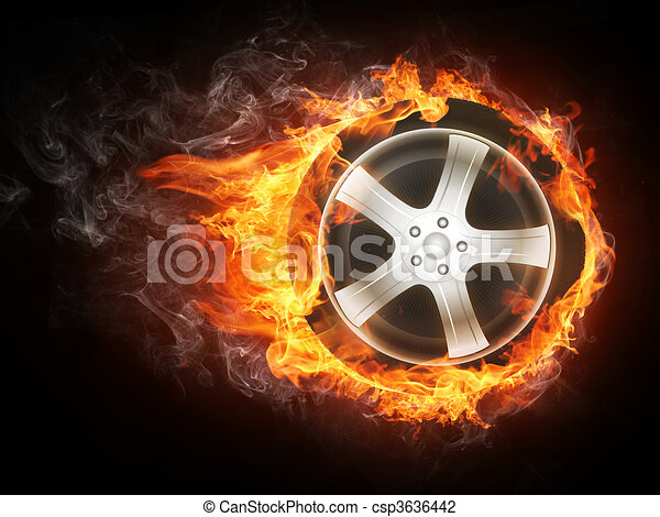轮子, 汽车, 火焰 - csp3636442