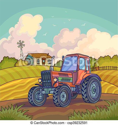 農場領域, tractor., 風景, 鄉村 - csp39232591