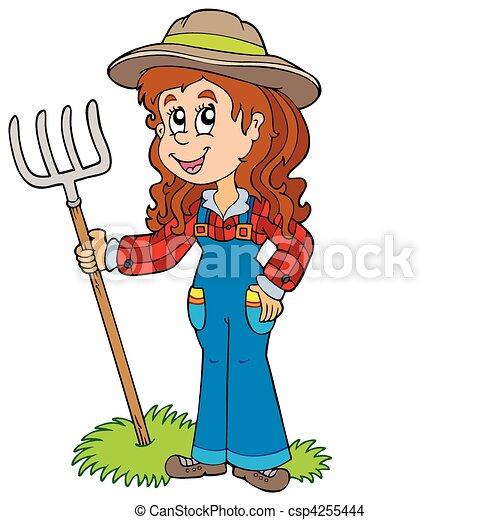 農場, かわいい 女 - csp4255444