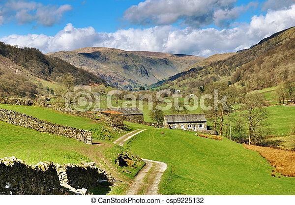 農場, イギリスのレーク地方, 絵のよう - csp9225132
