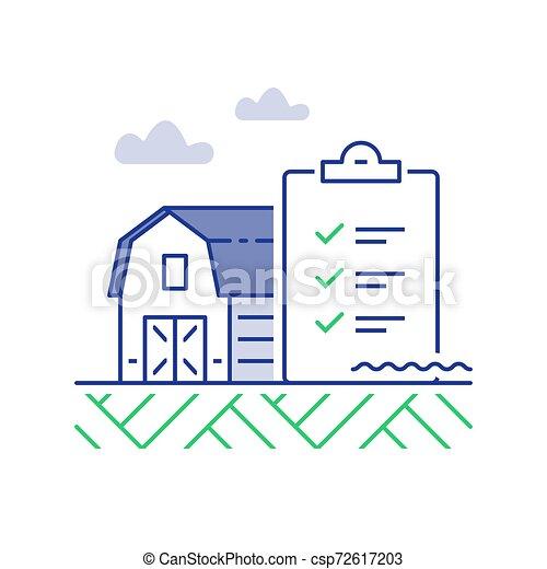 農場, チェックリスト, 改善, イラスト, 納屋, パフォーマンス, 線 - csp72617203