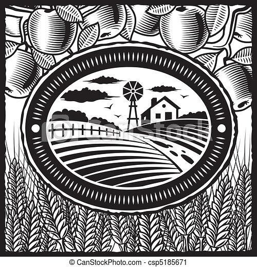 農場, 白, 黒, レトロ - csp5185671
