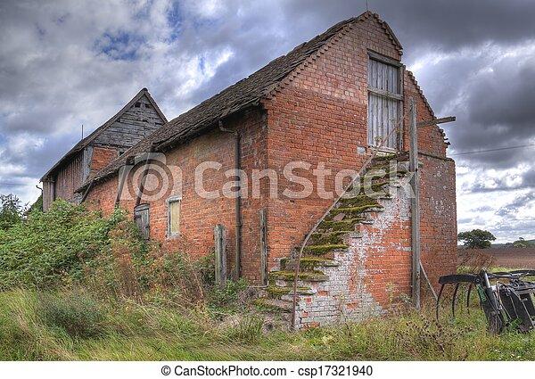 農場, 穀倉, 古い, イギリス\. ...