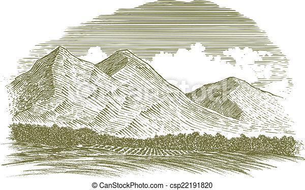 農村 場面, 木刻, 山 - csp22191820