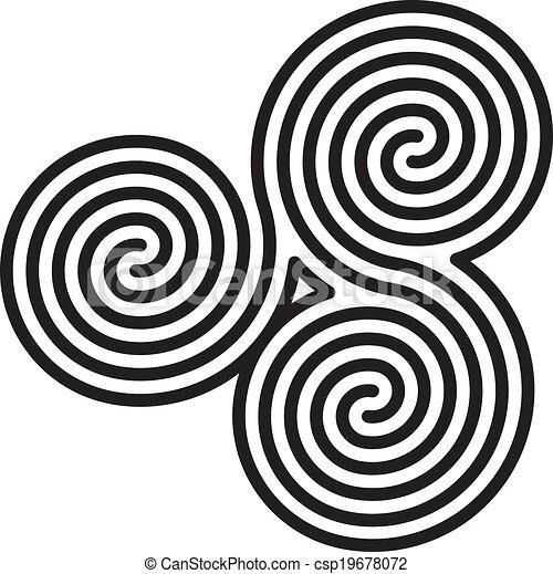 迷路, ダブル, ケルト, らせん状に動く - csp19678072