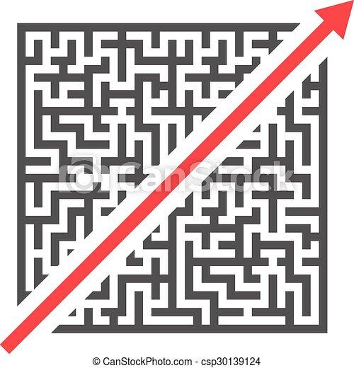 迷路, 近道. ベクトル, eps10, イラスト, 切断, 複雑, 赤い矢印 ...