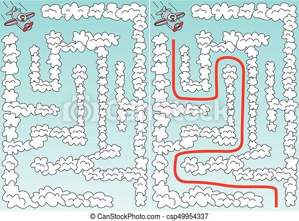 迷路, 飛行機, 容易である - csp49954337