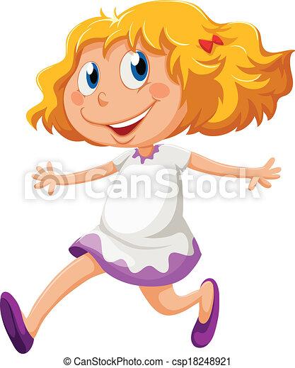 遊び好きである, 女の子, 動くこと, 若い - csp18248921