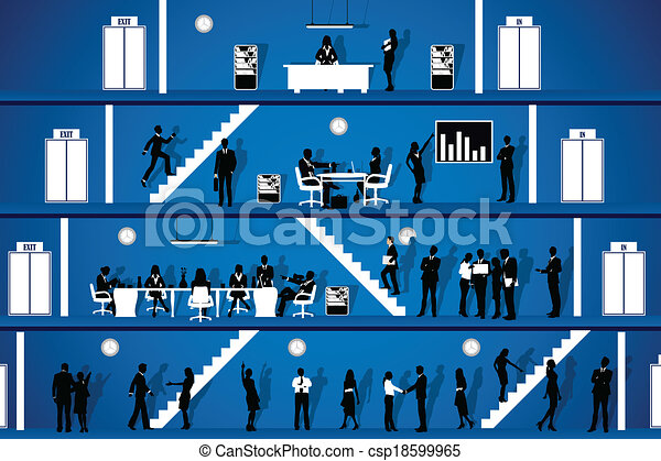 運作的 辦公室, 人們 - csp18599965