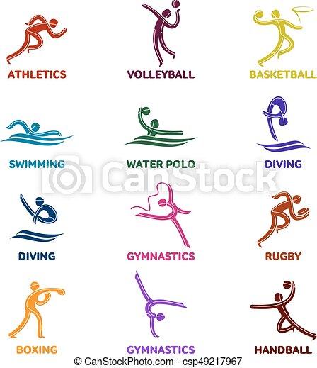 運動選手, スポーツ, ゲーム, 競争, アイコン - csp49217967