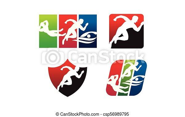 運動選手, スポーツ, セット, テンプレート - csp56989795