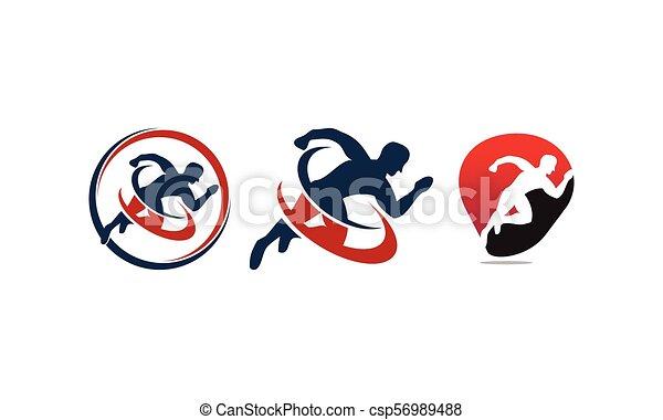 運動選手, スポーツ, セット, テンプレート - csp56989488