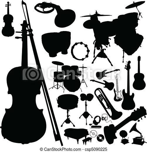 道具, シルエット, ベクトル, 音楽 - csp5090225