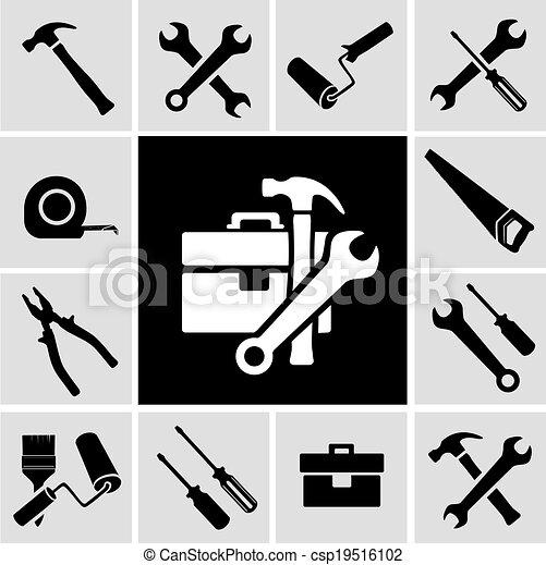 道具, セット, 黒, 大工, アイコン - csp19516102