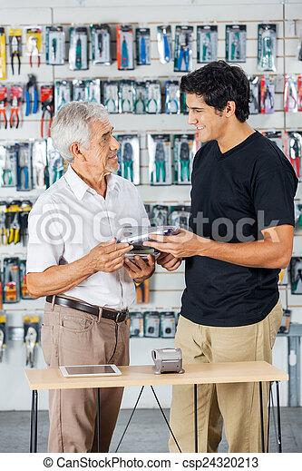 道具, 父, 購入, 店, 息子 - csp24320213